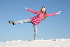 Girl winter snow. Exercise active girl winter snow Royalty Free Stock Images