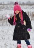 Girl winter snow around royalty free stock photo