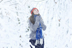 Girl in winter snow park Royalty Free Stock Photo
