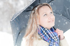Girl in winter street Royalty Free Stock Photos