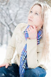 Girl in winter street Royalty Free Stock Images