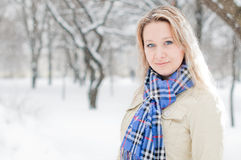 Girl in winter street Royalty Free Stock Photo