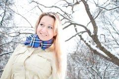 Girl in winter street Stock Image