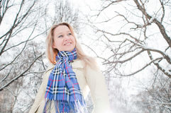 Girl in winter street Stock Photography