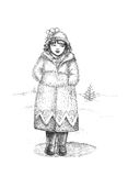 Girl at the winter street. Beauty black boots cartoon children Royalty Free Stock Image