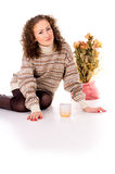 Girl in winter sweater resting Royalty Free Stock Photos