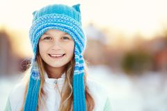 Girl in the winter. teen outdoors. Portrait of a cute girl on a walk in the winter. teen outdoors Royalty Free Stock Photo