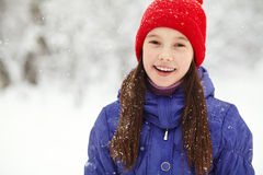 Girl in the winter. teen outdoors. Portrait of a funny girl on a walk in the winter. teen outdoors Royalty Free Stock Photos