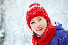 Girl in the winter. teen outdoors Royalty Free Stock Photo