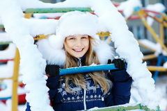 Girl in the winter. teen outdoors Stock Photography