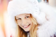 Girl in the winter. teen outdoors Royalty Free Stock Images