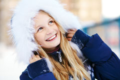 Girl in the winter. teen outdoors Royalty Free Stock Image