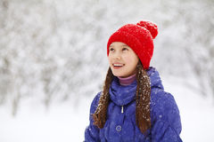 Girl in the winter. teen outdoors Stock Image