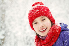 Girl in the winter. teen outdoors. Portrait of a funny girl on a walk in the winter. teen outdoors Stock Images