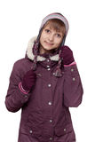 Girl in winter violet hooded jacket with hat Royalty Free Stock Photo