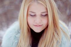 Girl on winter walk. Blonde girl on winter walk Stock Images