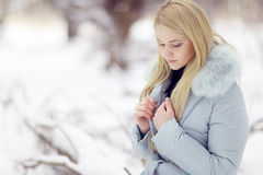 Girl on winter walk Royalty Free Stock Photography