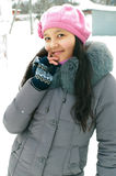Girl in wintertime. Attractive young girl in wintertime outdoor Stock Photography