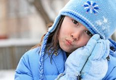 Girl in wintry clothing Royalty Free Stock Images