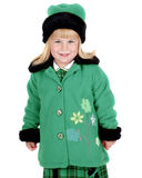 Girl in wintry coat Stock Images