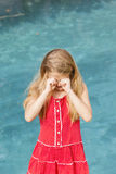 Girl Wipes Eyes Royalty Free Stock Images