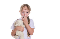 The girl wipes a nose a scarf Stock Photos