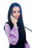 Girl with wire phone Royalty Free Stock Photo