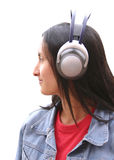 Girl with wireless headphones Royalty Free Stock Photo