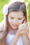Girl wirth chicken. Cute girl hold little chicken Stock Images