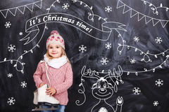 Girl wishes all a Merry Christmas royalty free stock photos