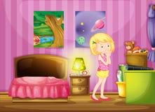 A girl wishing inside her room vector illustration