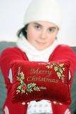 Girl wishing merry Christmas Stock Image