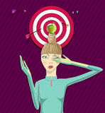 Girl wit apple on a head Royalty Free Stock Photos