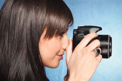 Girl wit camera Royalty Free Stock Photography