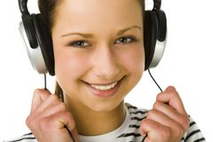 Girl wit headset Royalty Free Stock Photography
