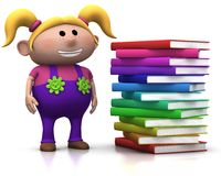 Girl wit stack of books. Cute blond girl standing beside a big stack of books - 3d rendering/illustration Stock Image
