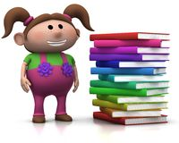 Girl wit stack of books Stock Photo