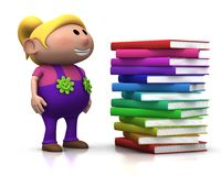 Girl wit stack of books Royalty Free Stock Photo