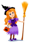 Girl witch. The girl in a costume of a witch with a broom. Cartoon  illustration Stock Image