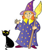 A  girl witch with a black cat. A cartoon  illustration of a girl witch with pointed hat and a broom stick and her pet black cat Royalty Free Stock Image