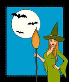 Girl witch with broom Stock Photography