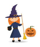 Girl in witch costume with broom in hand stock image