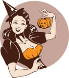 Girl in witch costume with pumpkin royalty free illustration