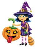 Girl in witch costume with pumpkin and broom Royalty Free Stock Images