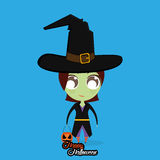 Girl With Witch Halloween Costume Isolated Stock Images