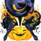 Girl witch Halloween holiday. Halloween festival watercolor Hand Painted Background. Watercolor illustration background Royalty Free Stock Photography