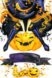 Girl witch Halloween holiday. Halloween festival watercolor Hand Painted Background. Watercolor illustration background Royalty Free Stock Image