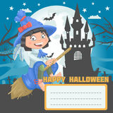 Girl witch halloween postcard Stock Photo