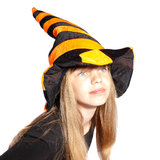 Girl with witch hat Royalty Free Stock Image