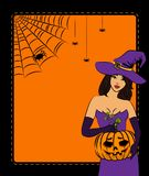 Girl witch with pumpkin Royalty Free Stock Photo